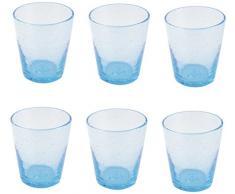 Villa dEste Home Tivoli Cancun Turchese Set 6 Bicchieri, 9 cm, 6 unità