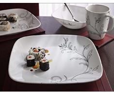 Corelle - Servizio da tavola da 16 pezzi in vetro Vitrelle, motivo a linee regali, resistente a sbeccature e rotture, servizio per 4 persone, nero