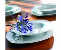 Domestic Villa 920903 Servizio da tavolo in porcellana, 30 pezzi: 6 tazze, piattini, piatti da dolce, piatti fondi, piatti piani, colore: Bianco