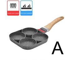 Xcute - Padella a 4 fori per uova fritte, pancake, cuociuova a gas Gas e induzione