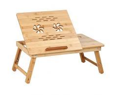 Jago Tavolino da Letto in bambù - per PC, Portatile, 54x34x21,5-29,5 cm, Pieghevole, con Cassettino Portaoggetti, Altezza Regolabile in 5 Posizioni - Vassoio per Computer, Notebook, Tablet