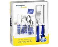 Esmeyer Jennifer - Set da 24 posate JENNIFER in acciaio inox 18/0 lucido, colore: blu, con portaposate ovale cromato