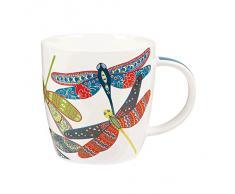 Queens - Tazza Couture in porcellana fine, motivo: libellule, multicolore