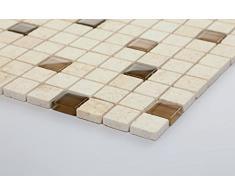Vetro e pietra naturale mosaico piastrelle opaca in marrone e Beige lucido e opaco MT0063