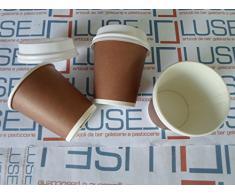 PZ 500 BICCHIERI DI CARTA PER CAFFE E BEVANDE CALDE BICCHIERE CARTONE PER CAFFE + COPERCHIO TERMICO CL 10