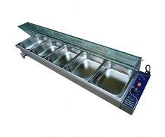 SISHUINIANHUA Buffet Elettrico dellattrezzatura dello spuntino dellAcciaio Inossidabile del Vapore dello scaldapiatti del ripiano dello scaldavivande da 5 pentole,EU
