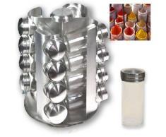 Espositore 16 barattoli portaspezie e erbe aromatiche - Supporto rotante in acciaio inox e barattoli in vetro