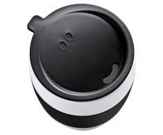 Koziol AROMA TO GO-Tazza di plastica, senza manico, da viaggio, 400 ml, per bere e nastri in gomma taglia unica nero