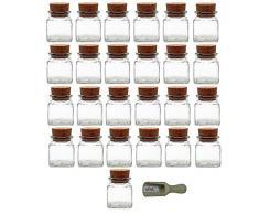 Viva-Haushaltswaren - 25 vasetti porta spezie da 120 ml, con tappo in sughero e paletta in legno da 7,5 cm