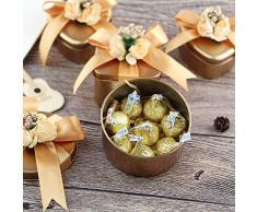 OurLeeme Scatole Regalo Mini con imballaggio, Scatola di Caramelle Elegante Floreale Vintage Scatola di Biscotti durevoli Cioccolato Delicato Migliore per Matrimoni, Compleanni, Natale (Cuore)
