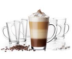 Platinux - Set di 6 bicchieri da latte macchiato con manico, in vetro, 370 ml