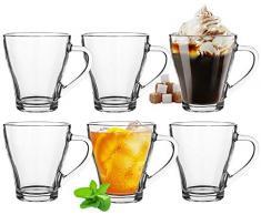 Platinux - Set di 6 bicchieri da cappuccino con manico, in vetro, 420 ml, per latte macchiato