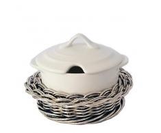 Formaggiera in rattan argentato con porcellana