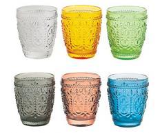 Villa d'Este Home Tivoli Imperial Set 6 Bicchieri dAcqua, Vetro, Colori Assortiti