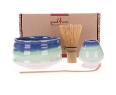 Goodwei Confezione Tè Matcha Giapponese Sumi - Set di Lusso Contiene Tazza da Cerimonia, Frullino di bambù e Porta Chasen (80)