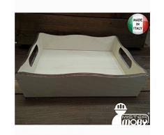 Mistermoby Vassoio Contenitore in Legno 24X33 Centimetri Modello Onda da Decorare per Decoupage Bomboniera 1 Pezzo