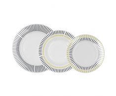 QUID SOLEI - Servizio da tavola in porcellana, 18 pezzi, 6 persone