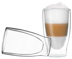 Set di 2X Bicchieri Thermos a Doppia Parete Duos di Feelino da 400 ml, per Latte Macchiato, Cappuccino, tè, tè Freddo, succhi, Acqua, Coca Cola, Cocktail, con Effetto fluttuante