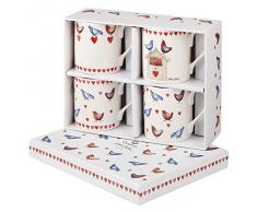 Alex Clark - Set di 4 tazze in porcellana fine, motivo: Love Birds, multicolori