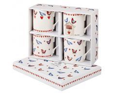 Alex Clark - Set di 4 tazze in porcellana fine, motivo: Love Birds, multicolori