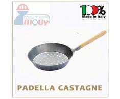 PADELLA CASTAGNE MANICO LEGNO DIA 26 CM CUOCI CASTAGNA CALDARROSTE MADE IN ITALY