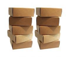 Kraft Scatole Regalo (Confezione da 10) - 13x12x5cm Marrone Carta Kraft Scatole per Feste, Matrimoni - Kraft Scatola per Biscotti, Caramella, Piccoli Regali