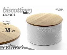 Gicos BARATTOLO BISCOTTIERA BISCOTTI IN LATTA BIANCO CON TAPPO IN LEGNO DIAM.18*10 CM 725883