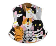 Scaldacollo-scaldacollo reversibile in pile con collage di gatti, fascia per scaldapiatti versatile per uomo e donna