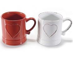 4 Tazza in ceramica anticata con cuore in rilievo