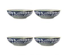Maxwell & Williams 5251656 Laguna dessert 'Driftwood design, porcellana dipinte a mano, 18 - bianco/blu (, pezzi di pudding/ciotole per la colazione)