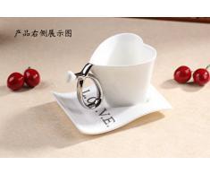 """ufengke Forma Di Cuore Creativa Tazzine Da Caffè, """"Love"""" Tazze Da Tè Tazza Di Caffè In Ceramiche Con Piattino, Per Regalo, La Famiglia E Ufficio -165Ml"""