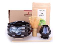 Goodwei Set di Matcha Completo - Tazza Cerimoniale con frusta e cucchiaio di bambù - incl. Tè Matcha Biologico Giapponese (Burashi)