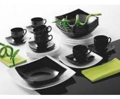 Servizio di piatti quadrati acquista servizi di piatti - Piatti bianchi e neri ...