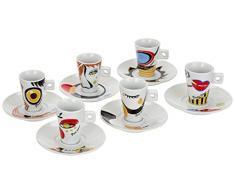 Zeller 26505 Set Tazzine da Caffè Faces, Porcellana,, 0.1x5x6.7 cm, 12 Unità