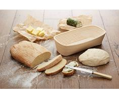 KitchenCraft Paul Hollywood Banneton Cestino per pane, 22 cm Rettangolare Beige