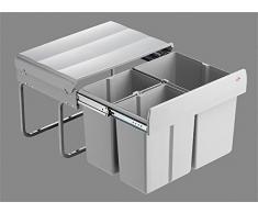 Wesco Trio Shorty 50 1x15/2x 7,5 Litri Secchio dei Rifiuti da Cucina da Pavimento Estraibile Completamente