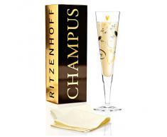 Ritzenhoff Champus 1070214 - Flûte da champagne con tovagliolo, 20 cl, design Marie Peppercorn