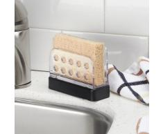 InterDesign Forma Organizer cucina, Portaspugne a scomparti per lavello in plastica e metallo, nero opaco/trasparente