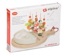 Set Aperitivo 17 Pezzi Con Vassoio In Legno Antipasto Sushi Con Ciotola In Ceramica Bianca Alpina