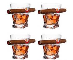 YXXJ 4PCS Whisky Sigaro Vetro, Supporto Vecchio Stile Moda Artigianale di Vino Bicchiere di Brandy Bicchiere di Whisky chiavette per Il Sigaro e Gli Amanti della Sigaretta