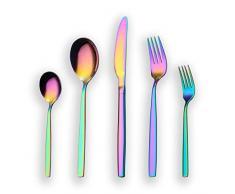 Berglander Set 30 posate colorate in titanio color arcobaleno, 30 pezzi Set posate colorate in argento, mutil color Set posate, servizio per 6 (arcobaleno lucido)