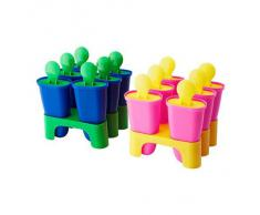 Ikea Chosigt ghiaccio babbei manico formine gelato toppits contenitore per ghiaccioli Set di 6 (Giallo/Rosa)