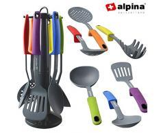 Alpina Set di Utensili da Cucina in Nylon, 7 Pezzi, Multi-Coloured, 6 unità