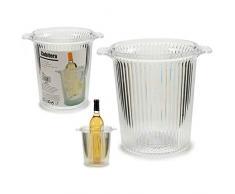 takestop® Secchiello in PLASTICA Trasparente Rigato Porta Ghiaccio con Manici PORTAGHIACCIO REFRIGERATORE Champagne Vino PORTABOTTIGLIE
