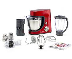 Moulinex QA502G Masterchef Gourmet Robot da Cucina, Capacità 4.6 L, 900 W, Rosso Rubino