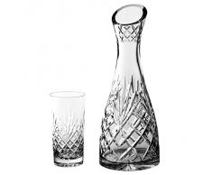 Crystaljulia 2205–Bicchieri Long Drink bicchieri Set, 9pezzi, 1x caraffa 1L, 8x bicchieri 320ml, Piombo cristallo, Ananas, motivo, smerigliata