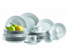 Domestic 923958 - Servizio stoviglie combinato Young, 30 pezzi con 6 tazze, 6 piattini, 6 piatti da dolce, 6 piatti fondi e 6 piatti piani, porcellana