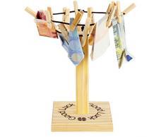 """BRUBAKER """"Good Luck"""" mini stendibiancheria ad ombrello portabanconote da esporrere sul tavolo - idea regalo"""