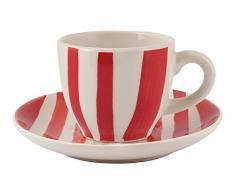 H&H Confezioni 6 Tazze Caffè Stonware C/Piatto 100 Cc Rosso/Avorio