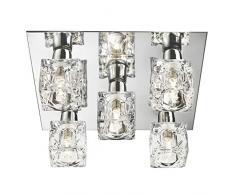 Lights4Living - Lampadario da soffitto in stile moderno, con 5 luci a forma di cubetto di ghiaccio, base cromata e lampade alogene